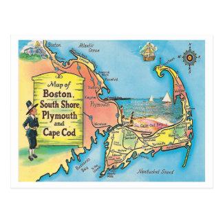 Cartão Postal Mapa das cidades de Massachusetts do vintage