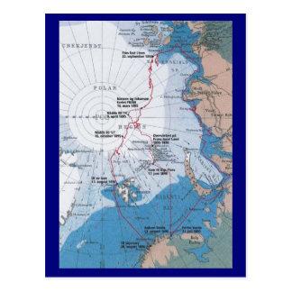 Cartão Postal Mapa das viagens de Nansen