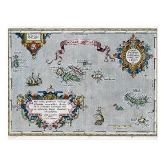 Cartão Postal Mapa de 1584 Açores