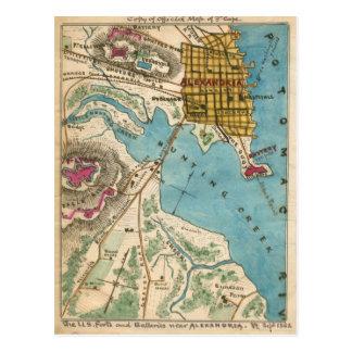 Cartão Postal Mapa de Alexandria VA e cidades vizinhas