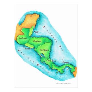 Cartão Postal Mapa de América Central