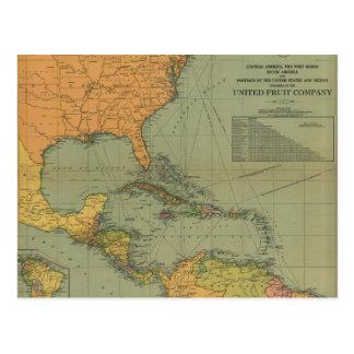 Cartão Postal Mapa de América Central & de Arredores (1909)