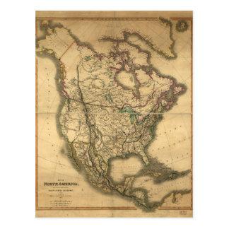 Cartão Postal Mapa de America do Norte (1849)