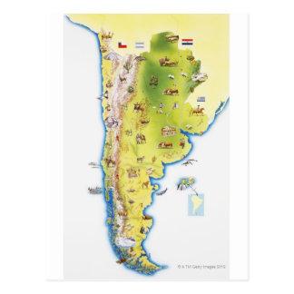 Cartão Postal Mapa de Ámérica do Sul