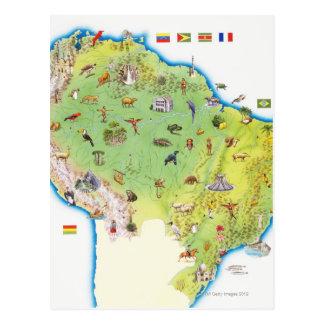 Cartão Postal Mapa de Ámérica do Sul do norte
