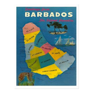 Cartão Postal Mapa de Barbados do vintage