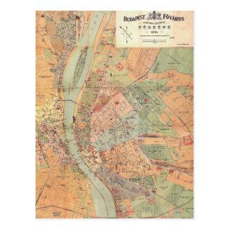 Cartão Postal Mapa de Budapest Hungria desde 1884