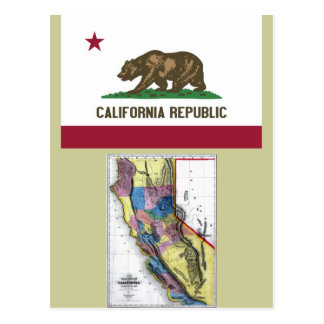 Cartão Postal Mapa de Califórnia e bandeira do estado