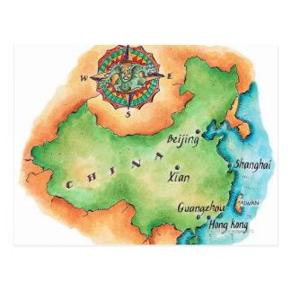 Cartão Postal Mapa de China