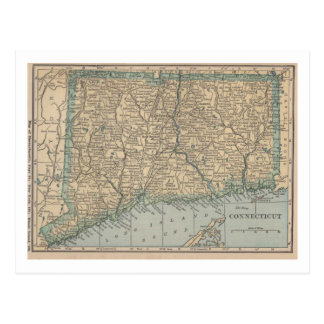 Cartão Postal Mapa de Connecticut