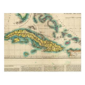Cartão Postal Mapa de Cuba e das ilhas de Bahama