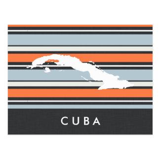 Cartão Postal Mapa de Cuba: Listras modernas
