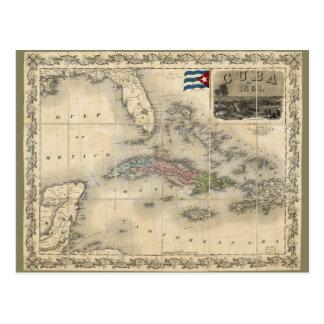 Cartão Postal Mapa de Cuba por J.H. Colton (1851)