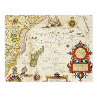 Cartão Postal Mapa de East Africa e de Madagascar, 1596 (colo da