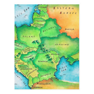Cartão Postal Mapa de Europa Oriental