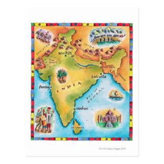 Cartão Postal Mapa de India