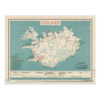 Cartão Postal Mapa de Islândia (cerca de 1959)