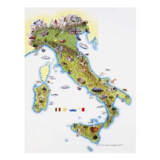 Cartão Postal Mapa de Italia