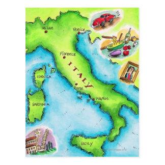Cartão Postal Mapa de Italia 2