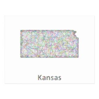 Cartão Postal Mapa de Kansas