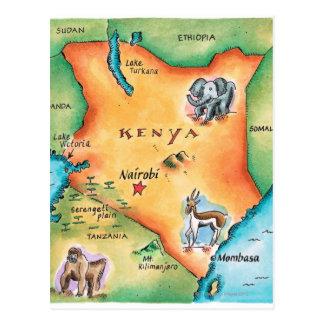 Cartão Postal Mapa de Kenya