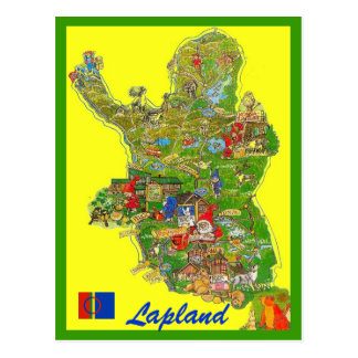 Cartão Postal Mapa de Lapland