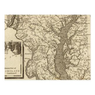 Cartão Postal Mapa de Maryland por Arrowsmith