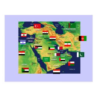 Cartão Postal Mapa de Médio Oriente