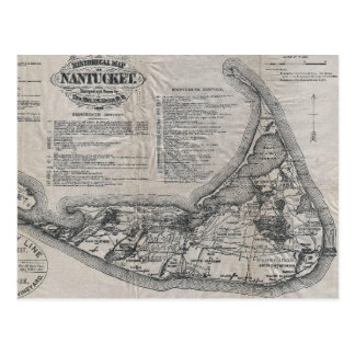 Cartão Postal Mapa de Nantucket do vintage