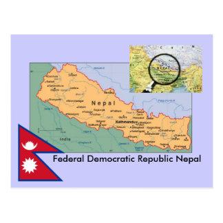 Cartão Postal Mapa de Nepal