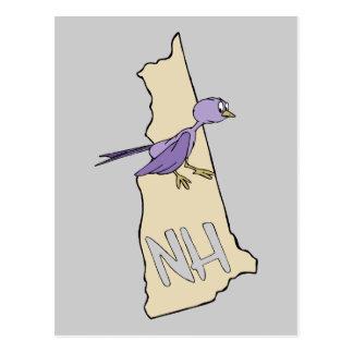 Cartão Postal Mapa de New Hampshire NH com o passarinho roxo