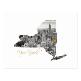 Cartão Postal Mapa de New York cortado