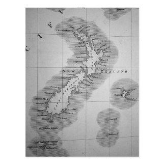 Cartão Postal Mapa de Nova Zelândia