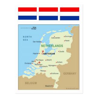 Cartão Postal Mapa de Países Baixos