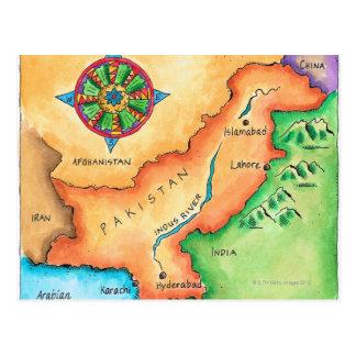 Cartão Postal Mapa de Paquistão