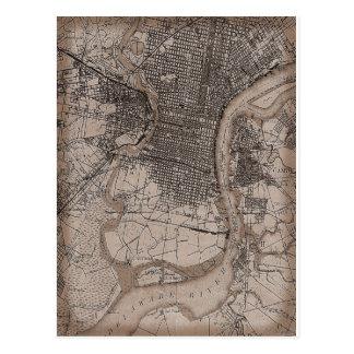 Cartão Postal Mapa de Philadelphfia 1898 do vintage