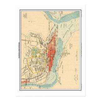 Cartão Postal Mapa de Rangoon & de arrabaldes, India. britânico