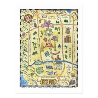 Cartão Postal Mapa de Reno