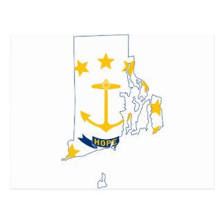 Cartão Postal Mapa de Rhode - ilha da bandeira
