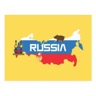 Cartão Postal Mapa de Rússia com a bandeira azul e vermelha