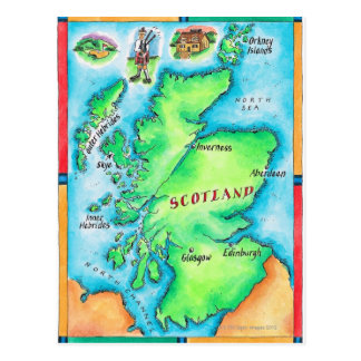 Cartão Postal Mapa de Scotland