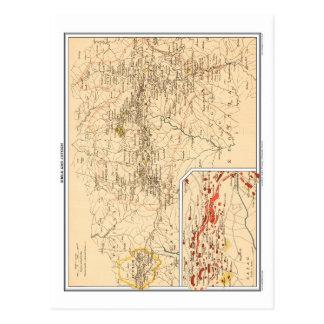 Cartão Postal Mapa de Simla & de Jutogh, India. britânico
