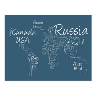 Cartão Postal Mapa de texto da escrita do mapa do mundo