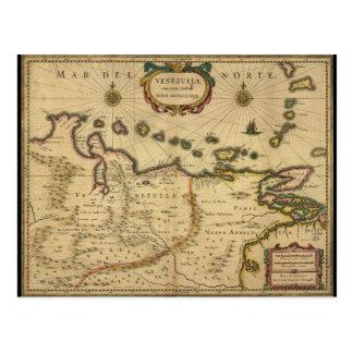 Cartão Postal Mapa de Venezuela por Hendrik Hondius (1630)