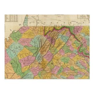 Cartão Postal Mapa de Virgínia e de Maryland