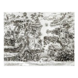 Cartão Postal Mapa do cerco de Malta em 1565