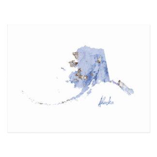 Cartão Postal Mapa do estado de Alaska do azul & do ouro