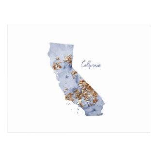 Cartão Postal Mapa do estado de Califórnia do azul & do ouro