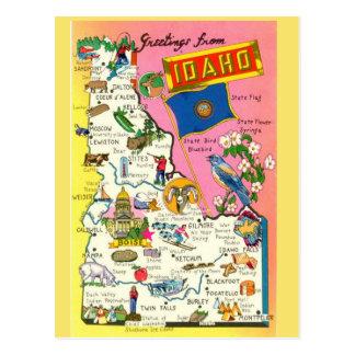 Cartão Postal Mapa do estado de Idaho