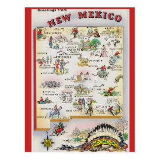 Cartão Postal Mapa do estado de New mexico